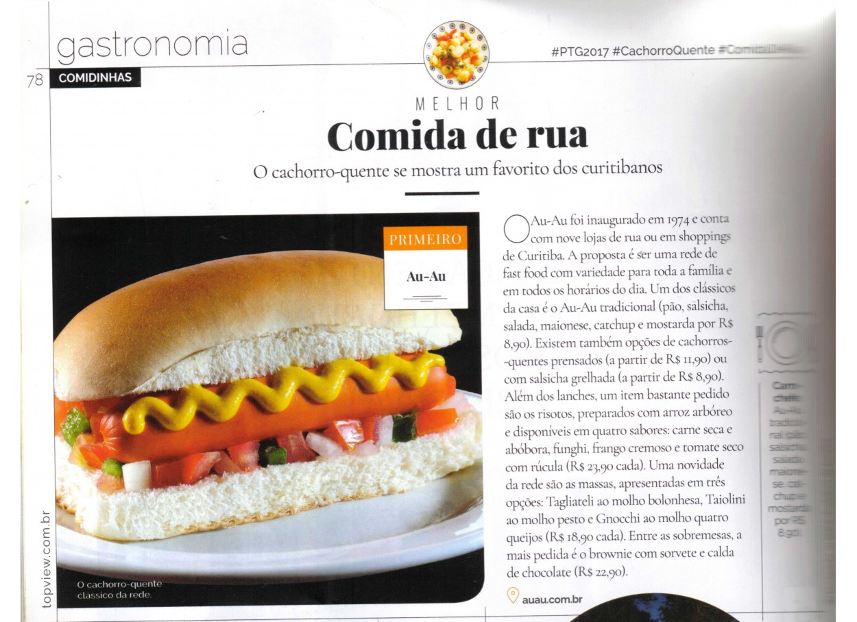 Cachorro quente do Au-Au vende prêmio Top View Gastronomia